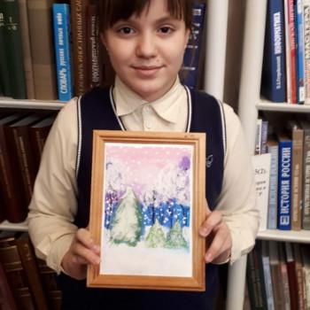 """Изображения из альбома «Занятие рисования при библиотеке-филиале №9 """"Сумерки в зимнем лесу""""»"""
